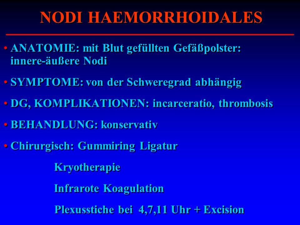 NODI HAEMORRHOIDALES ANATOMIE: mit Blut gefüllten Gefäßpolster: innere-äußere Nodi. SYMPTOME: von der Schweregrad abhängig.