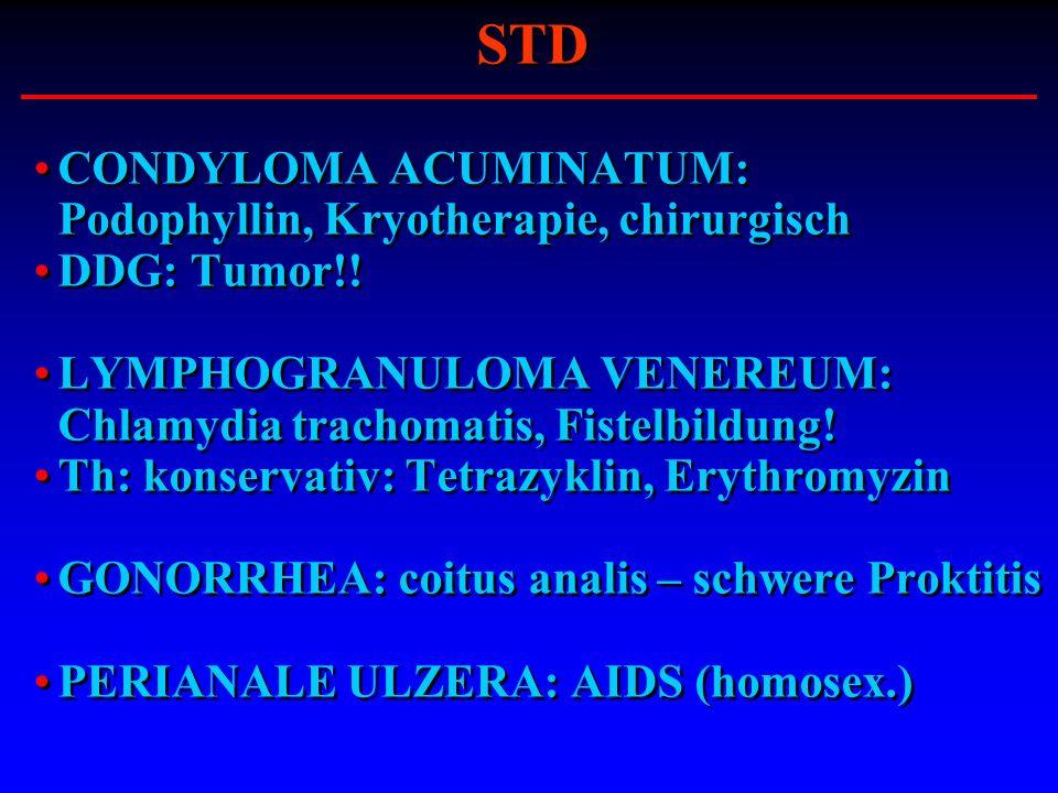 STD CONDYLOMA ACUMINATUM: Podophyllin, Kryotherapie, chirurgisch