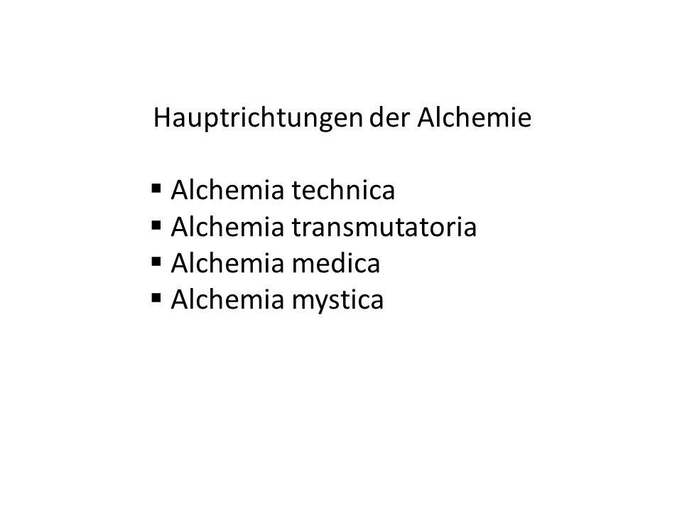 Alchemia transmutatoria Alchemia medica Alchemia mystica