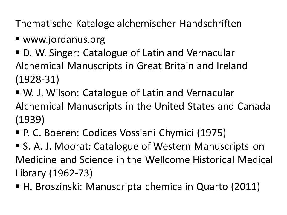 Thematische Kataloge alchemischer Handschriften