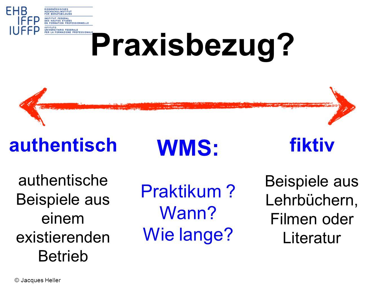 Praxisbezug WMS: authentisch fiktiv Praktikum Wann Wie lange