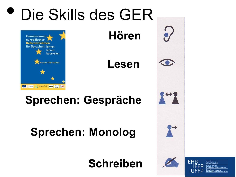 Die Skills des GER Hören Lesen Sprechen: Gespräche Sprechen: Monolog