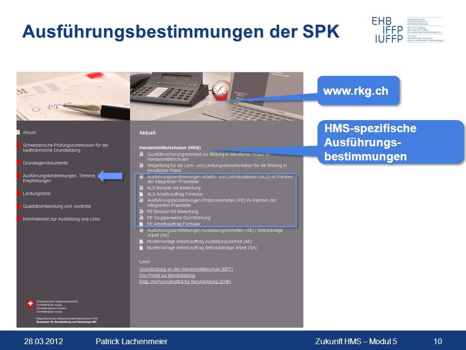 Ausführungsbestimmungen der SPK