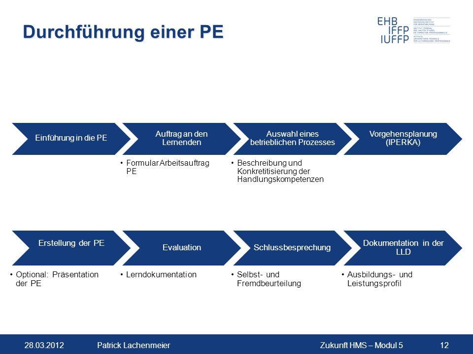Durchführung einer PE Erstellung der PE Optional: Präsentation der PE