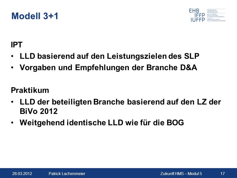 Modell 3+1 IPT LLD basierend auf den Leistungszielen des SLP