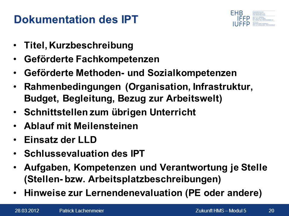 Dokumentation des IPT Titel, Kurzbeschreibung