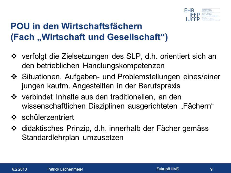 """POU in den Wirtschaftsfächern (Fach """"Wirtschaft und Gesellschaft )"""
