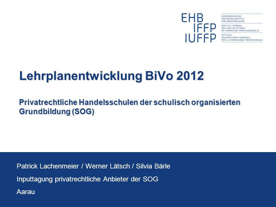 Lehrplanentwicklung BiVo 2012 Privatrechtliche Handelsschulen der schulisch organisierten Grundbildung (SOG)