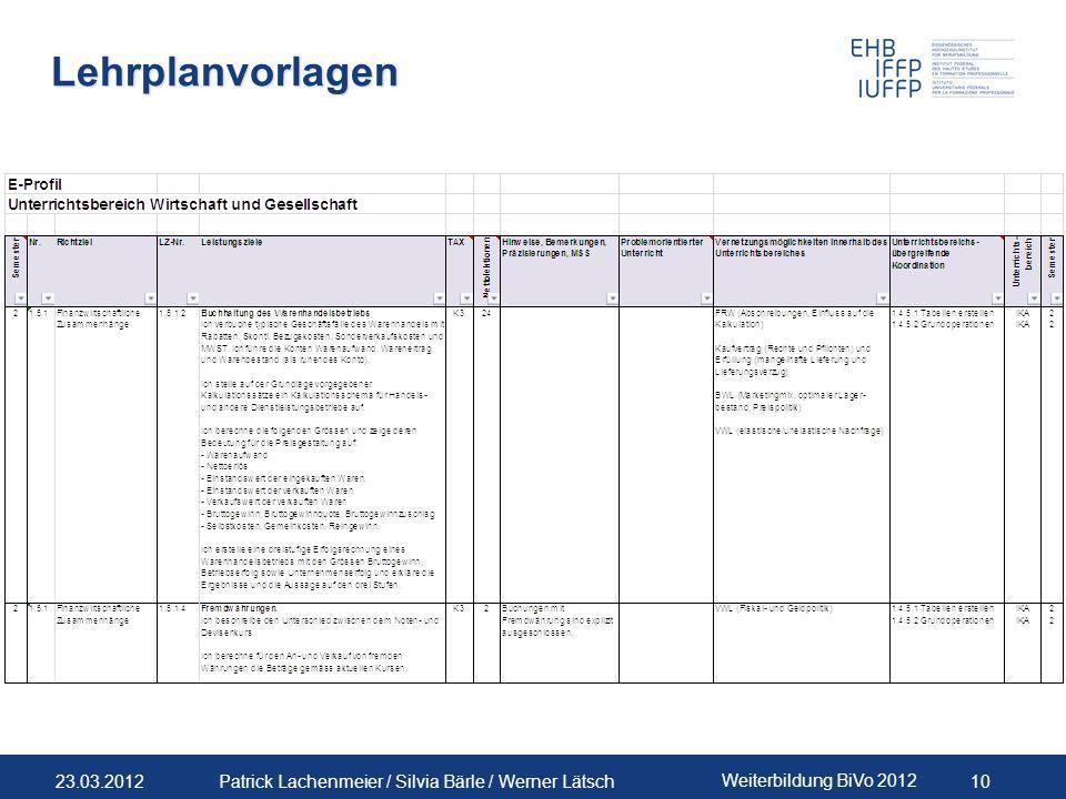 Lehrplanvorlagen