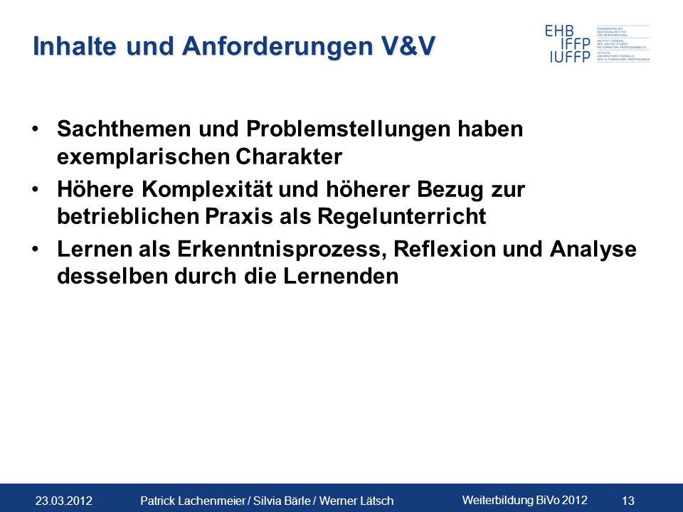 Inhalte und Anforderungen V&V