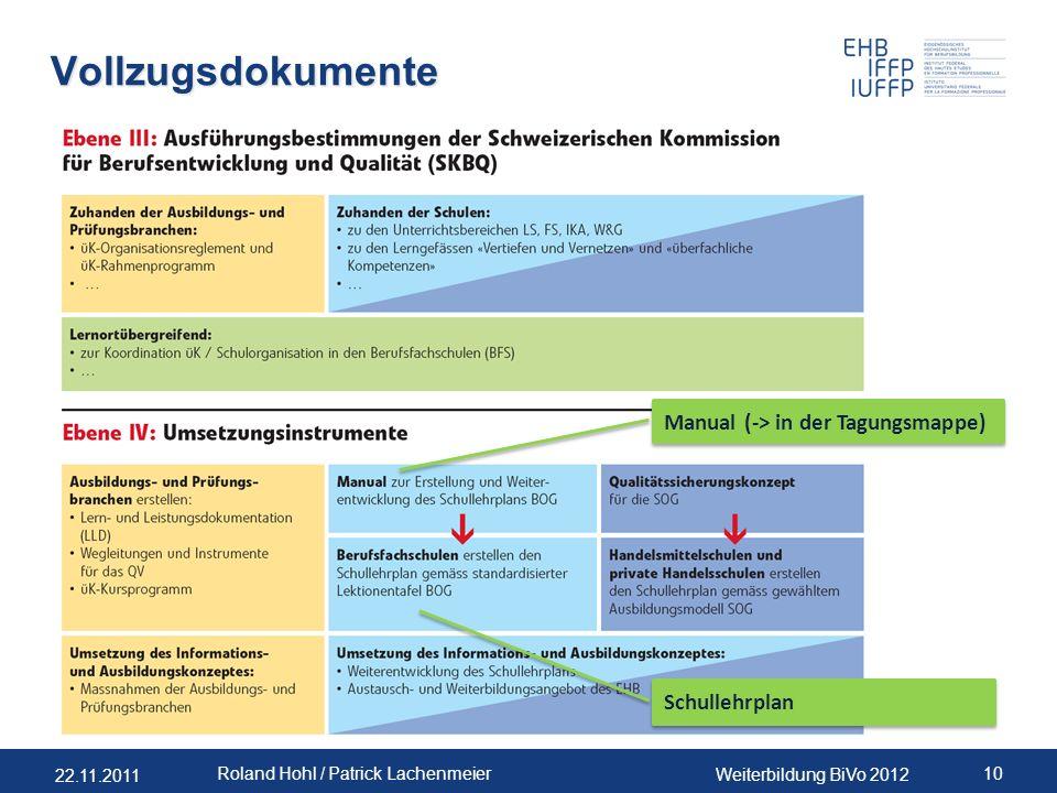 Vollzugsdokumente Manual (-> in der Tagungsmappe) RHO Schullehrplan