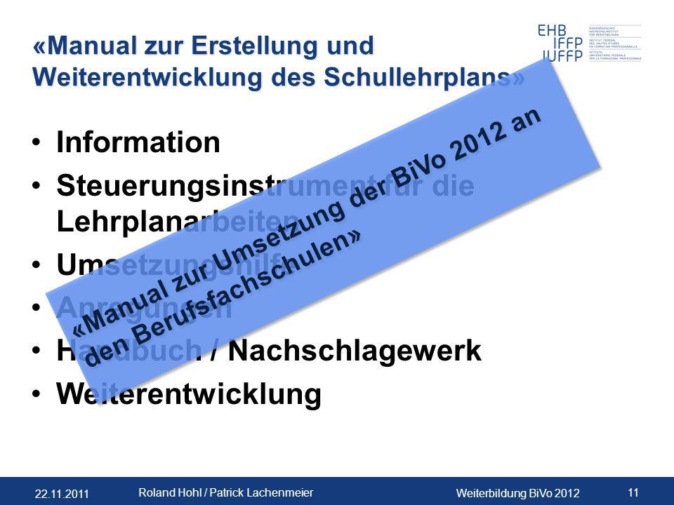«Manual zur Erstellung und Weiterentwicklung des Schullehrplans»