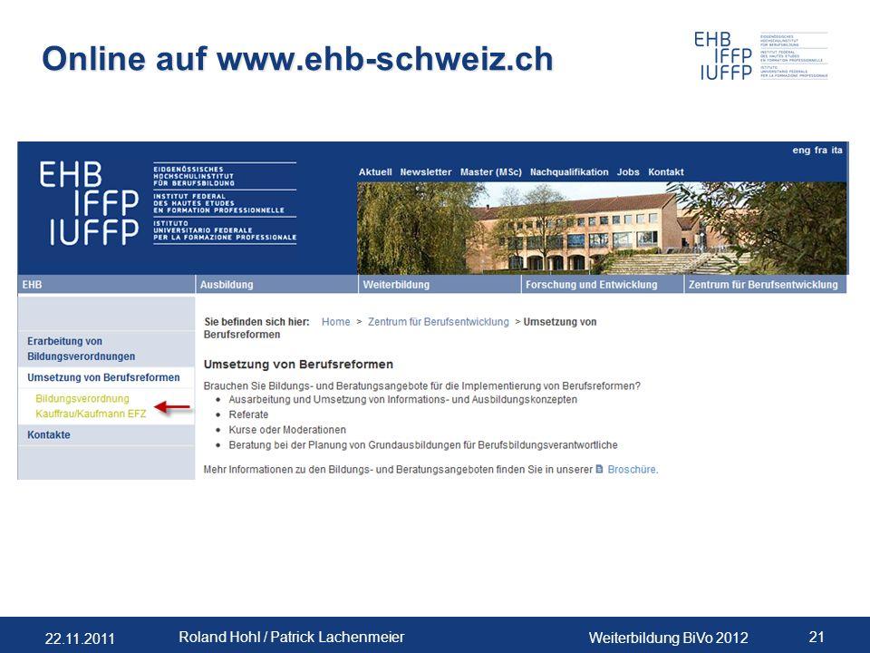 Online auf www.ehb-schweiz.ch