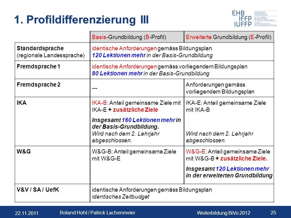1. Profildifferenzierung III