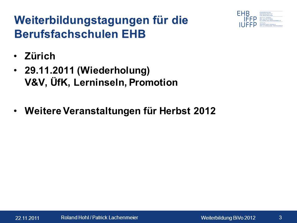 Weiterbildungstagungen für die Berufsfachschulen EHB