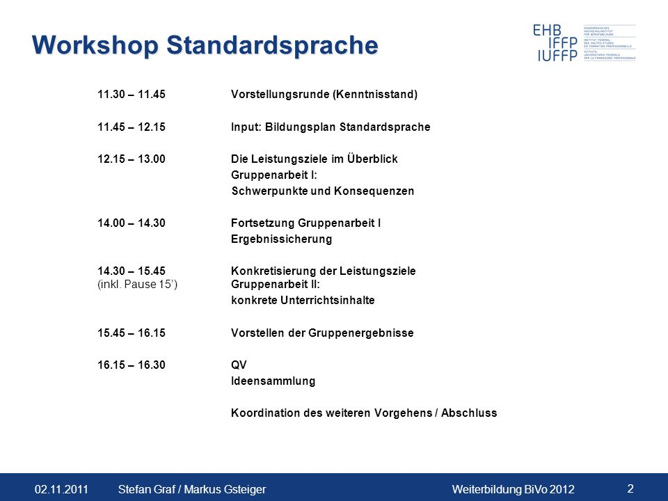Workshop Standardsprache