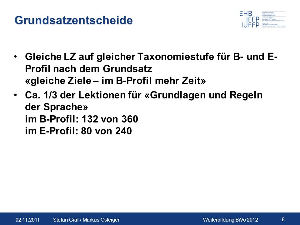 Grundsatzentscheide Gleiche LZ auf gleicher Taxonomiestufe für B- und E-Profil nach dem Grundsatz «gleiche Ziele – im B-Profil mehr Zeit»