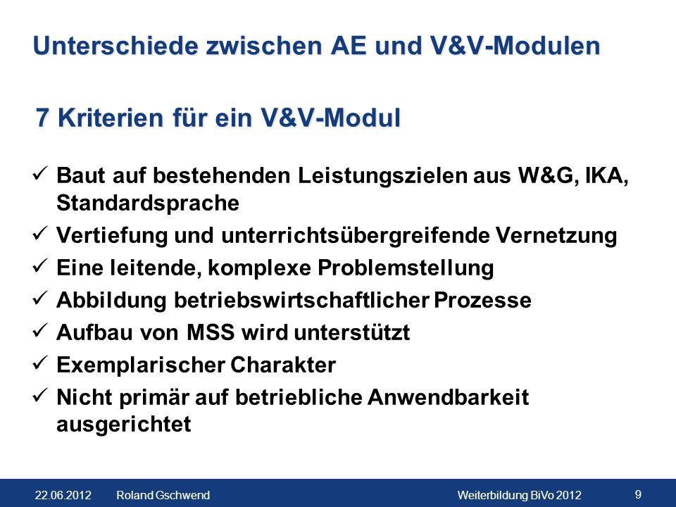 Unterschiede zwischen AE und V&V-Modulen