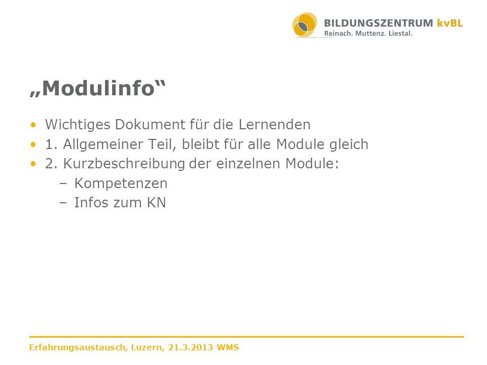 """""""Modulinfo Wichtiges Dokument für die Lernenden"""
