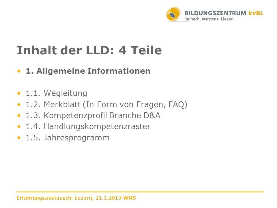 Inhalt der LLD: 4 Teile 1. Allgemeine Informationen 1.1. Wegleitung