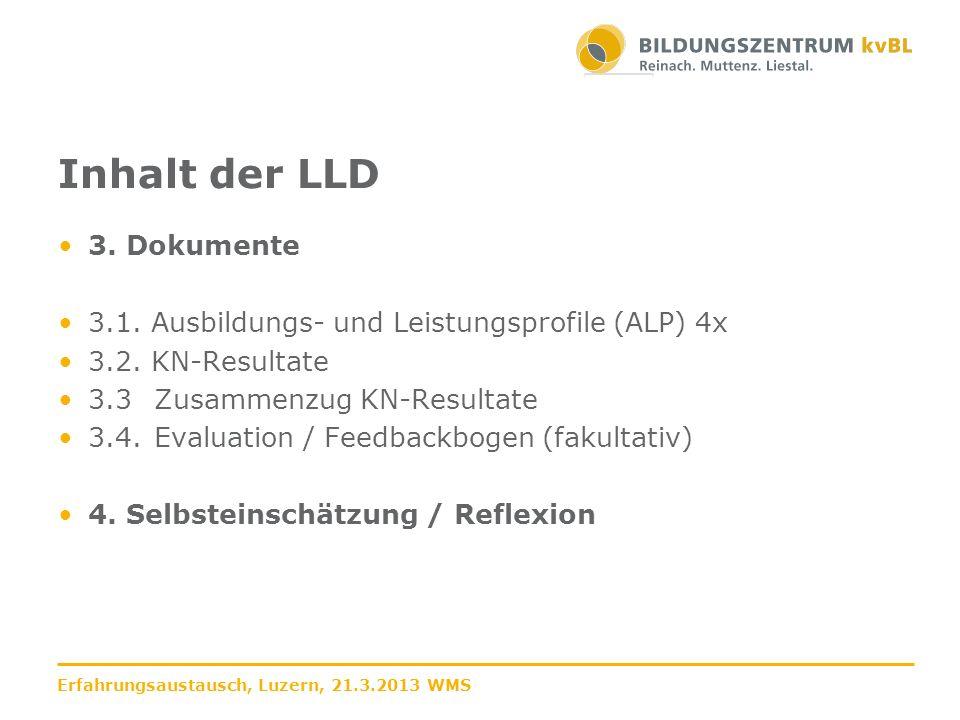 Inhalt der LLD 3. Dokumente