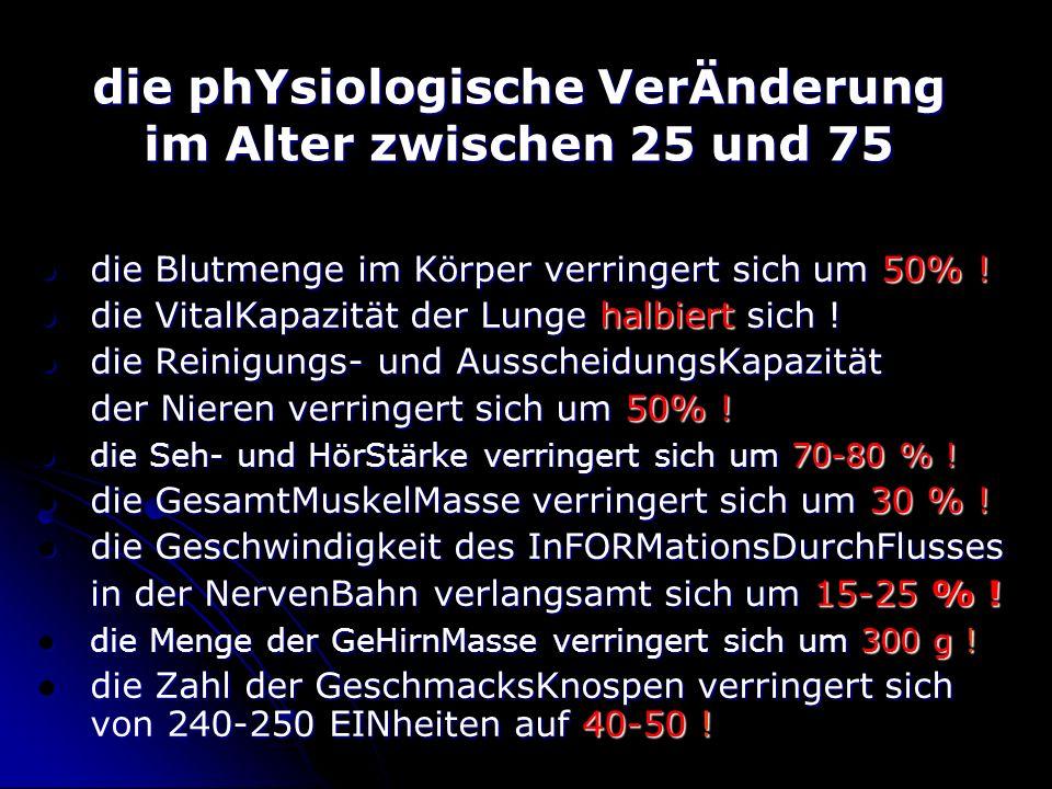 die phYsiologische VerÄnderung im Alter zwischen 25 und 75