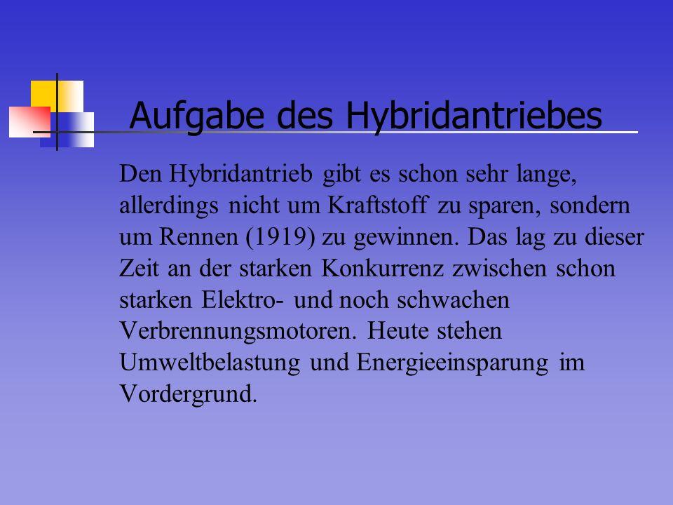 Aufgabe des Hybridantriebes