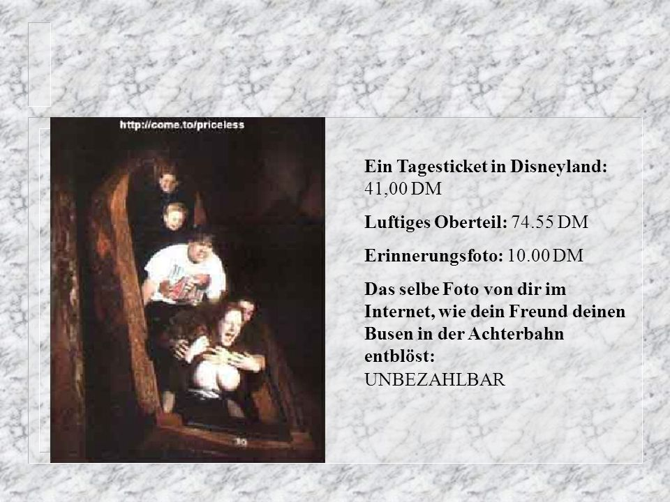 Ein Tagesticket in Disneyland: 41,00 DM