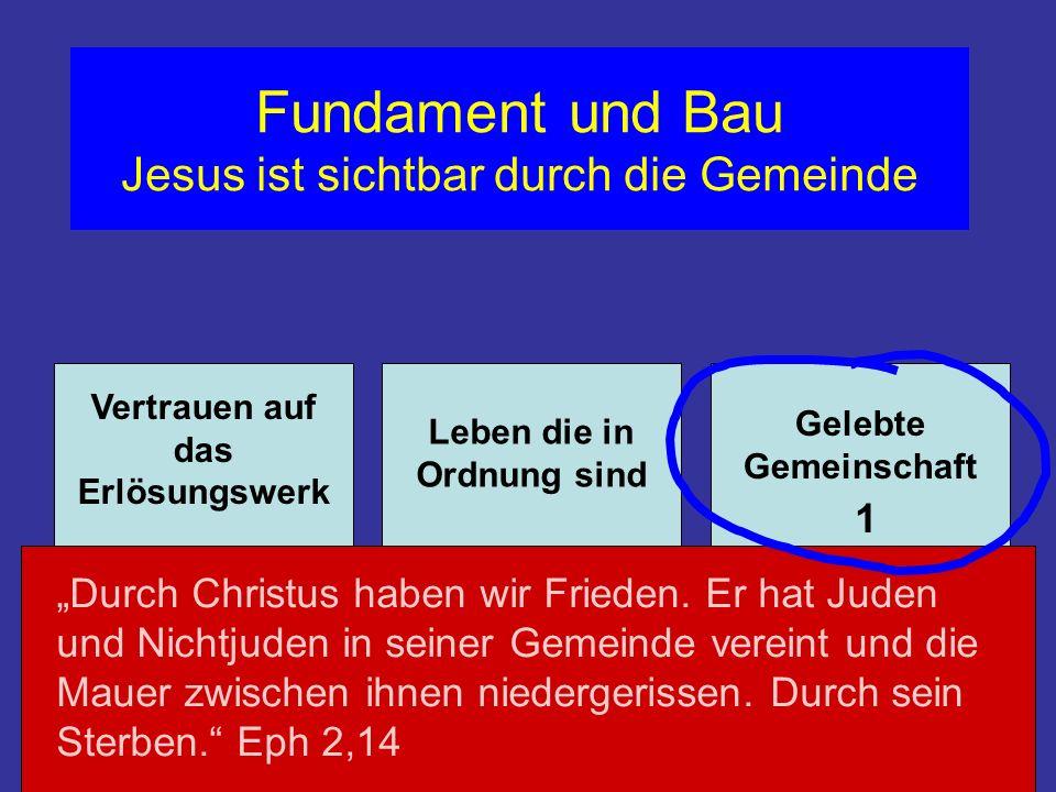 Fundament und Bau Jesus ist sichtbar durch die Gemeinde