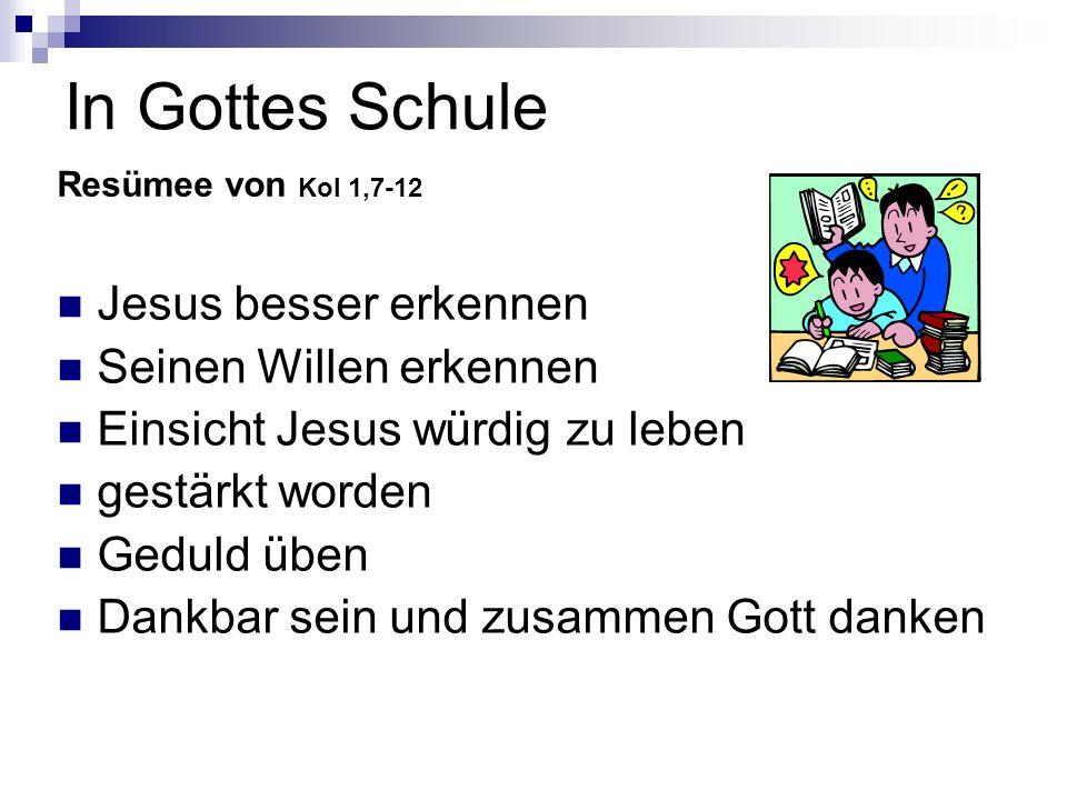 In Gottes Schule Jesus besser erkennen Seinen Willen erkennen