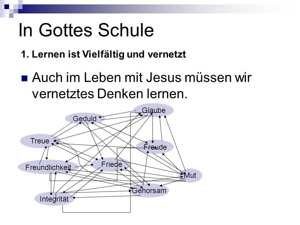 In Gottes Schule 1. Lernen ist Vielfältig und vernetzt. Auch im Leben mit Jesus müssen wir vernetztes Denken lernen.