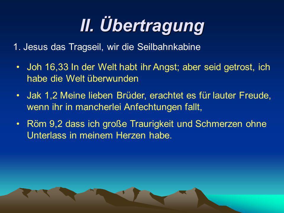 II. Übertragung 1. Jesus das Tragseil, wir die Seilbahnkabine