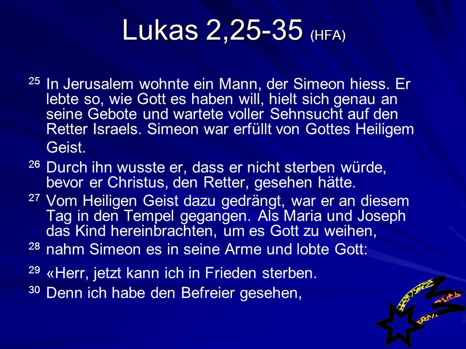 Lukas 2,25-35 (HFA)