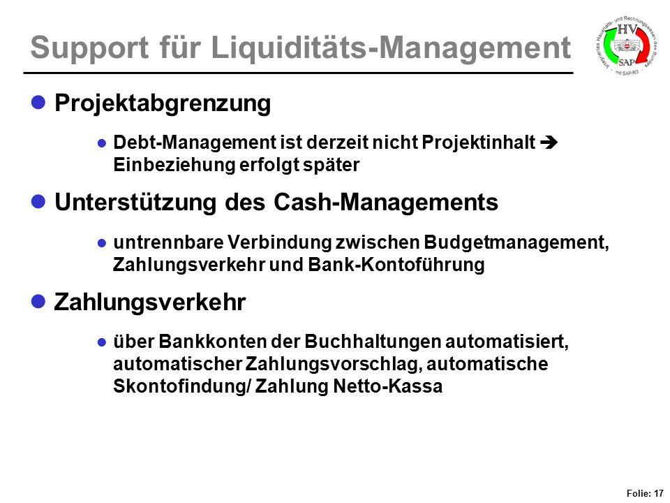 Support für Liquiditäts-Management