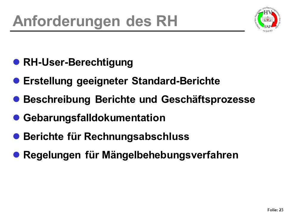 Anforderungen des RH RH-User-Berechtigung