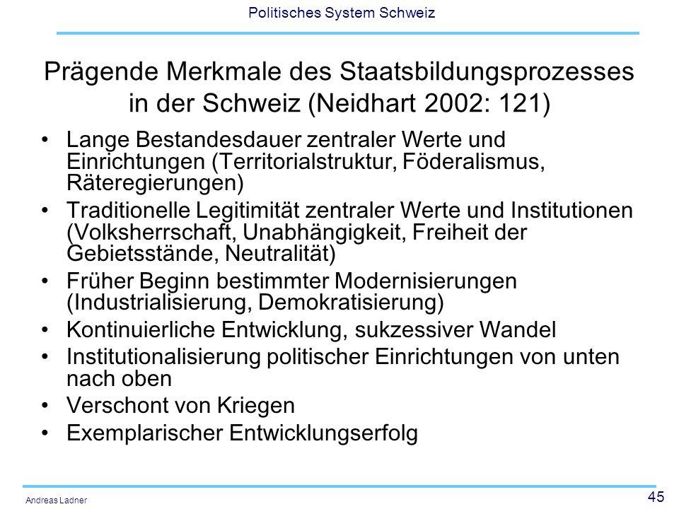 Prägende Merkmale des Staatsbildungsprozesses in der Schweiz (Neidhart 2002: 121)