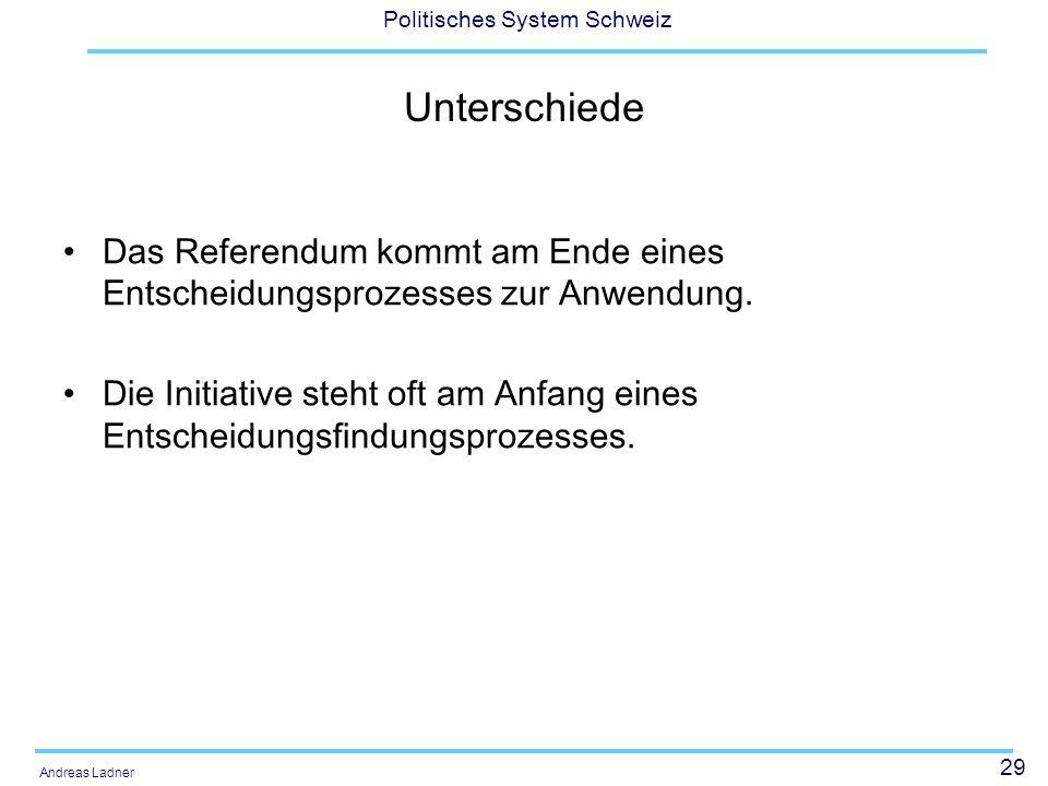 Unterschiede Das Referendum kommt am Ende eines Entscheidungsprozesses zur Anwendung.