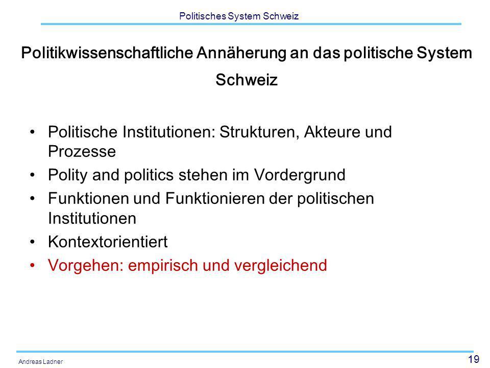 Politikwissenschaftliche Annäherung an das politische System Schweiz