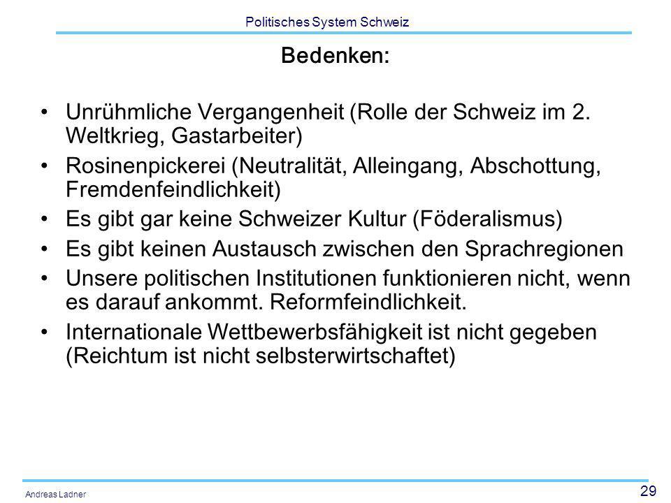Bedenken:Unrühmliche Vergangenheit (Rolle der Schweiz im 2. Weltkrieg, Gastarbeiter)