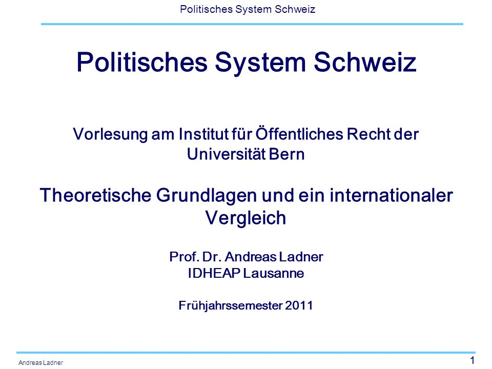 Politisches System Schweiz