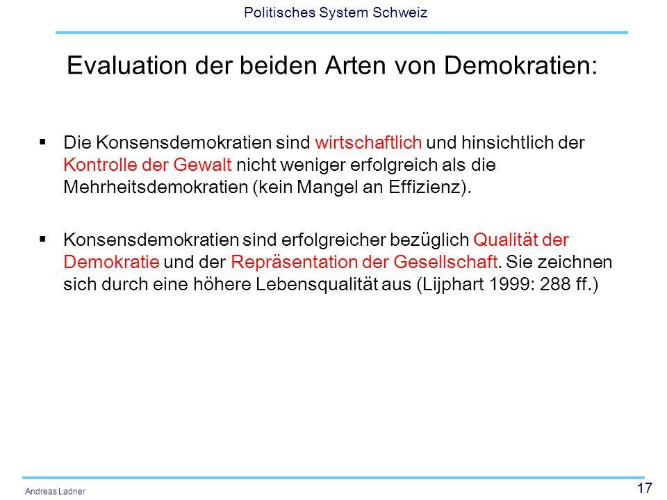 Evaluation der beiden Arten von Demokratien: