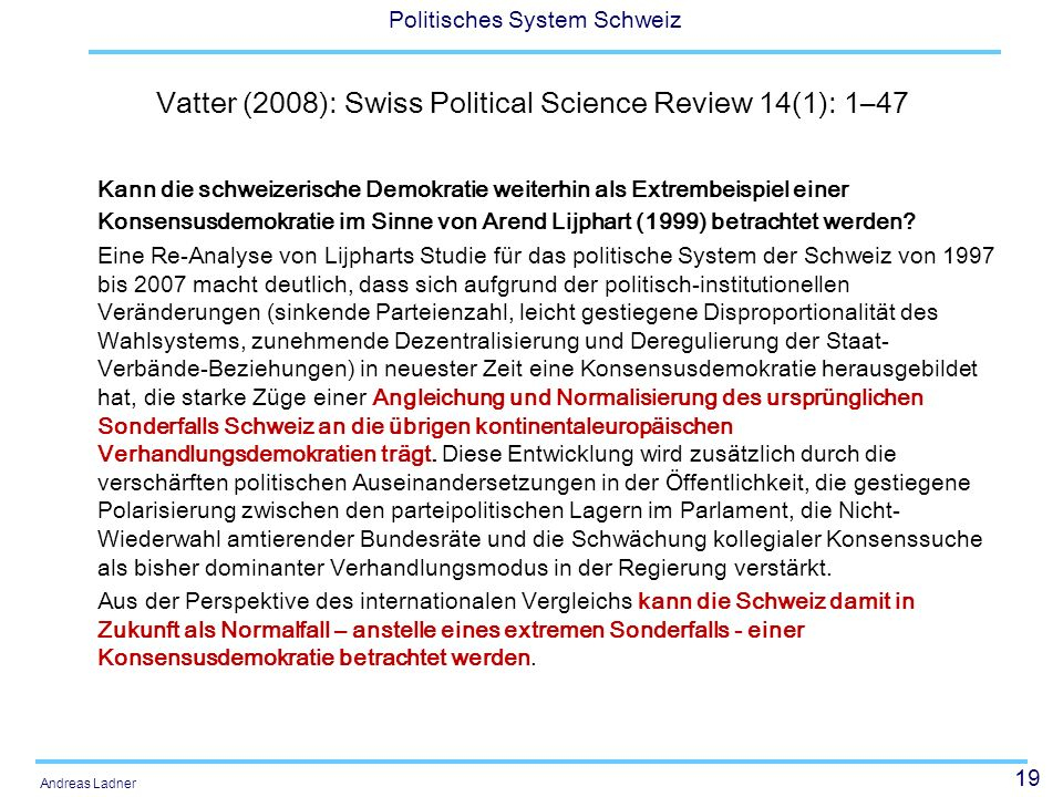 Vatter (2008): Swiss Political Science Review 14(1): 1–47