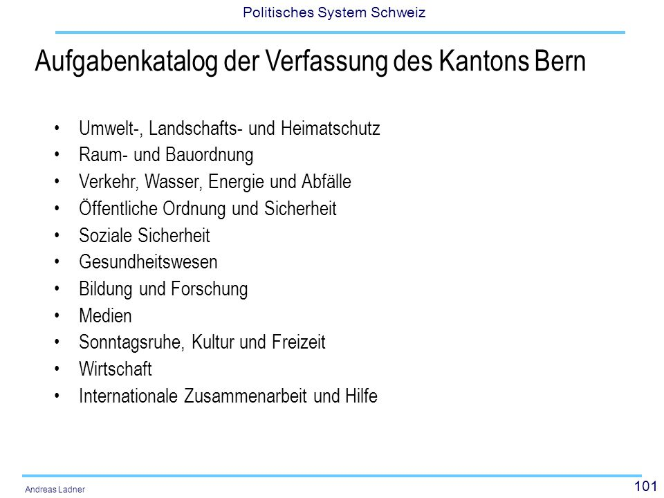 Aufgabenkatalog der Verfassung des Kantons Bern