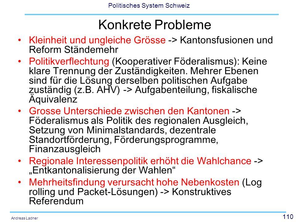 Konkrete Probleme Kleinheit und ungleiche Grösse -> Kantonsfusionen und Reform Ständemehr.