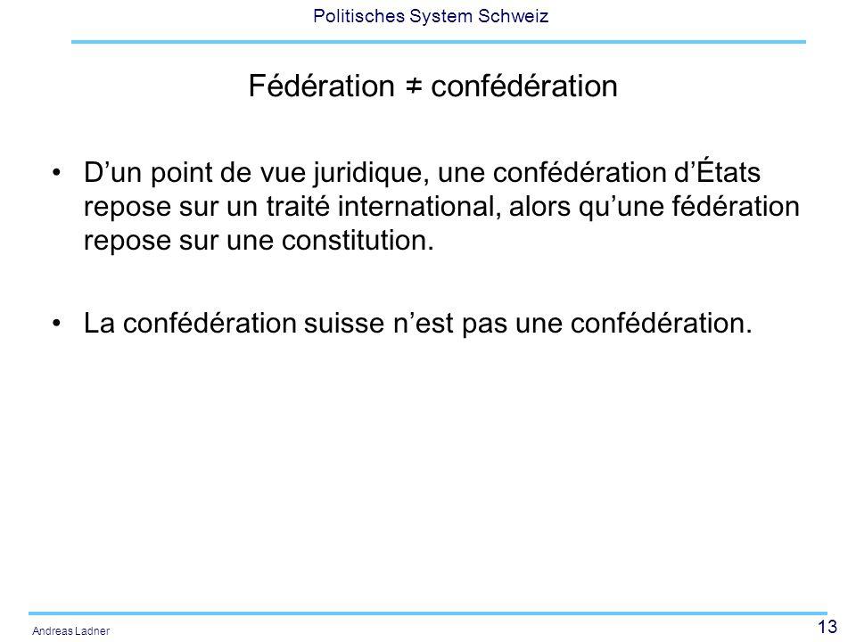 Fédération ≠ confédération