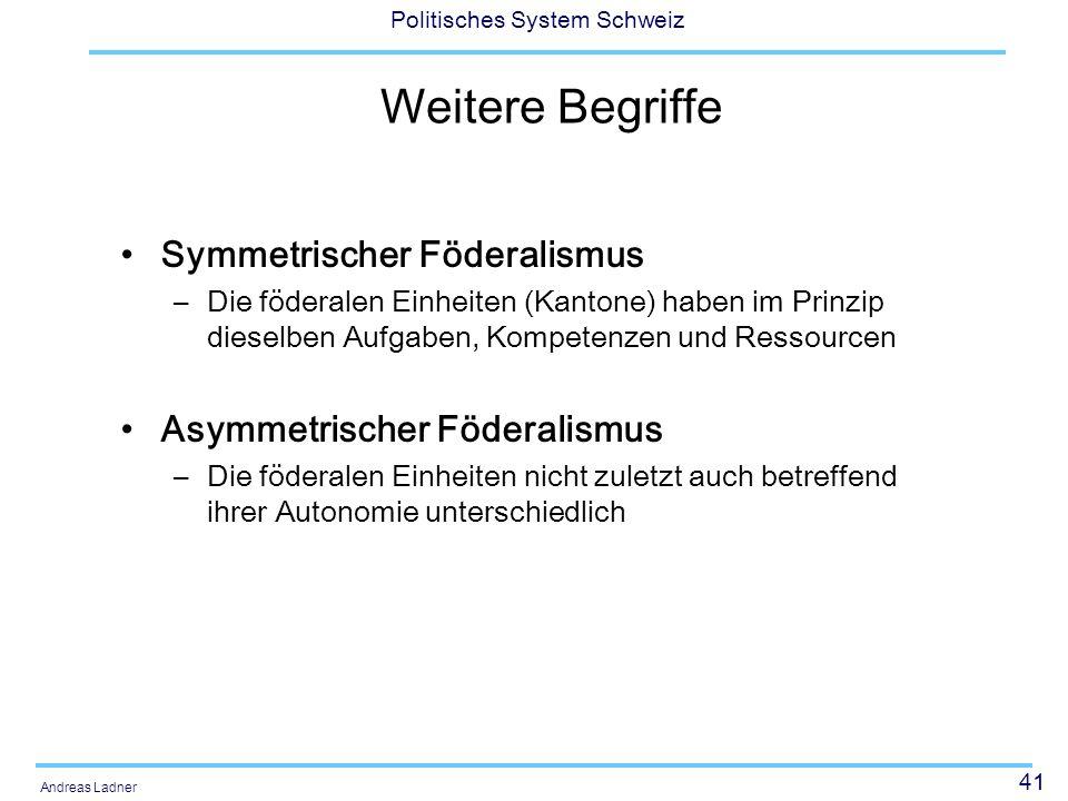 Weitere Begriffe Symmetrischer Föderalismus