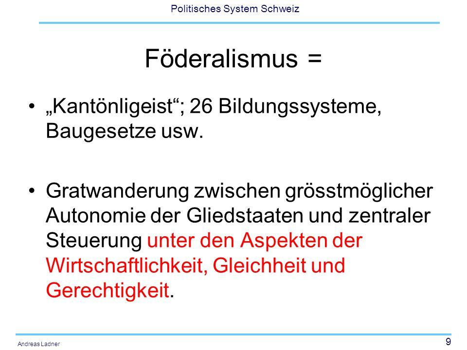 """Föderalismus = """"Kantönligeist ; 26 Bildungssysteme, Baugesetze usw."""