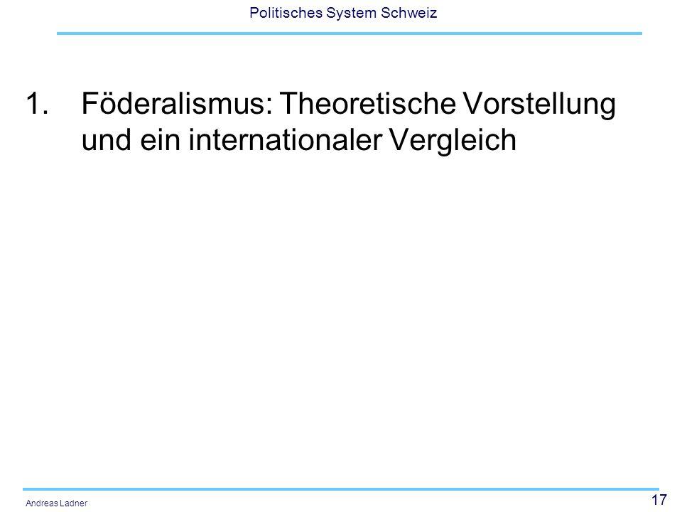 Föderalismus: Theoretische Vorstellung und ein internationaler Vergleich