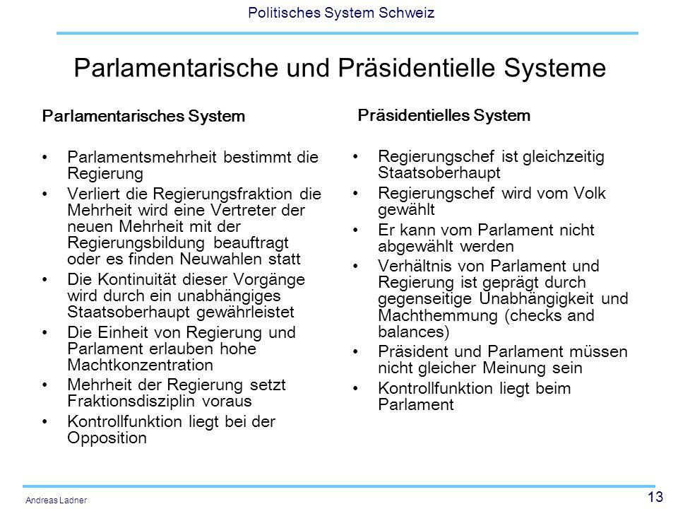 Parlamentarische und Präsidentielle Systeme