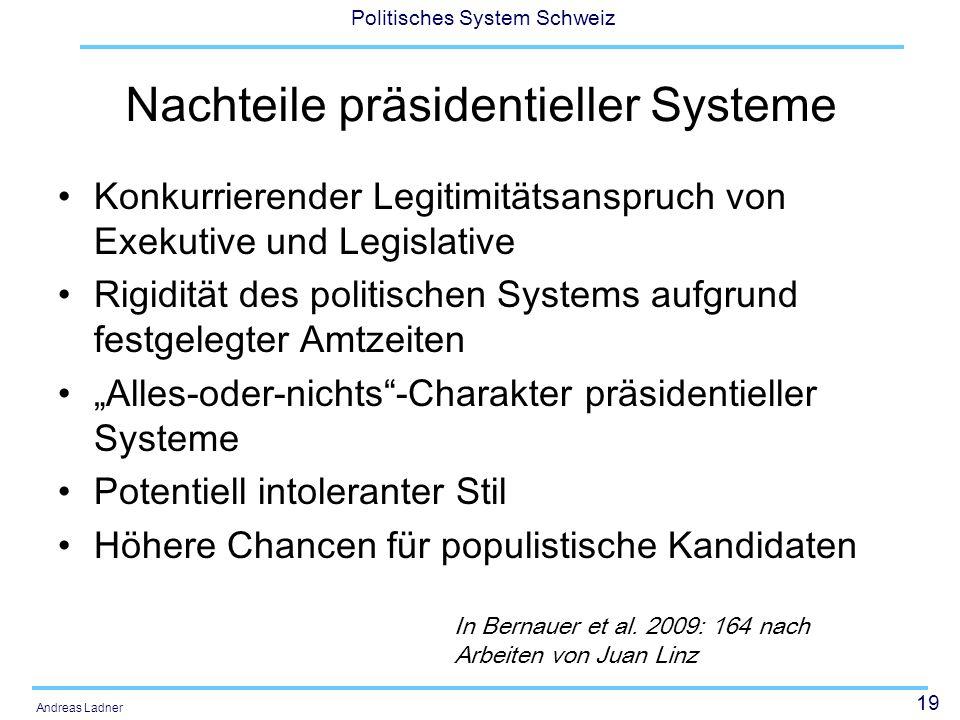 Nachteile präsidentieller Systeme
